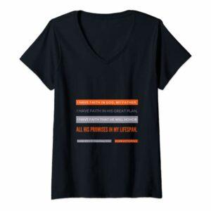 #52Devotionals I Have Faith – Christian Shirts by Anna Szabo – Black V-Neck T-Shirt